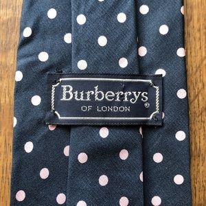 Burberry Navy Blue Pink Polka Dot Tie